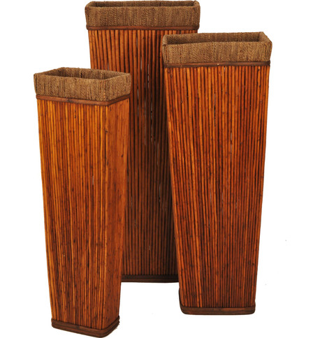 RECTANGULAR CANE VASE SET Brown