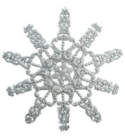 GIANT FLOCKED GLITTER SNOWFLAKE - SILVER - Silver