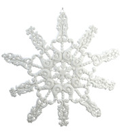 GIANT FLOCKED GLITTER SNOWFLAKE - WHITE - White