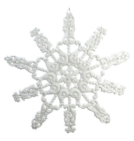 GIANT FLOCKED GLITTER SNOWFLAKE - WHITE White