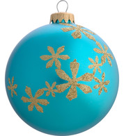 GLITTER FLOWER BAUBLES - Turquoise