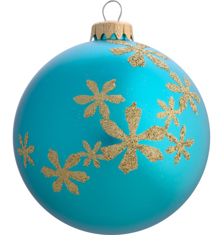 GLITTER FLOWER BAUBLES Turquoise