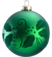 FLOCKED HOLLY BAUBLE - Green