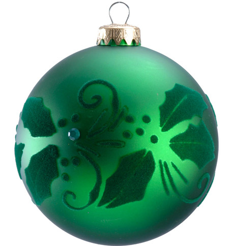 FLOCKED HOLLY BAUBLE Green