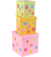 FLORAL PAPER MACHE BOXES - Multicolour