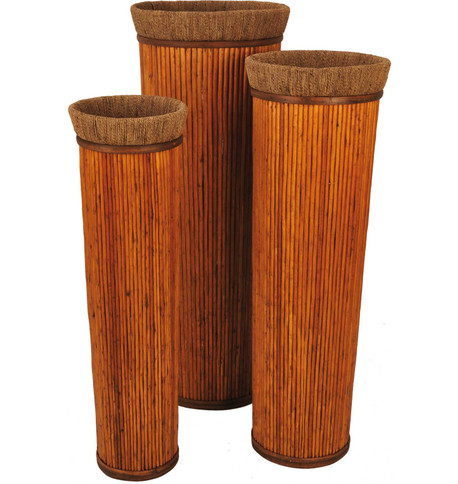 ROUND CANE VASE SET Brown