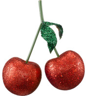 GLITTERED GIANT CHERRIES - Red