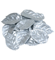 GLITTERED SILVER LEAVES - Silver