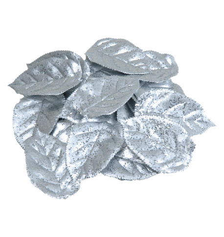 GLITTERED SILVER LEAVES Silver