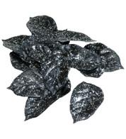 GLITTERED BLACK LEAVES - Black