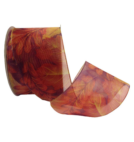 SHEER AUTUMN LEAF RIBBON - AMBER Amber