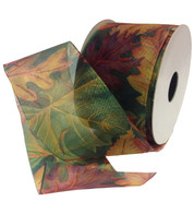 SHEER AUTUMN LEAF RIBBON - GREEN - Green
