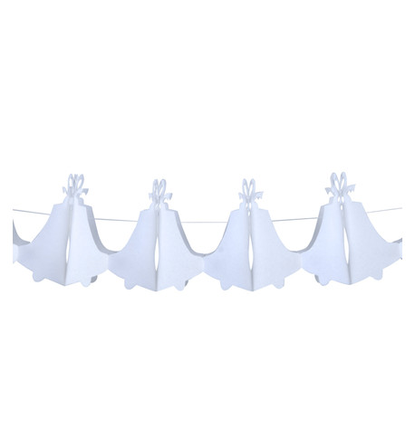 PAPER WEDDING BELL GARLAND - WHITE White
