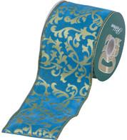FLOCKED ROCOCO RIBBON - Turquoise