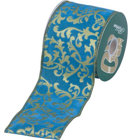 FLOCKED ROCOCO RIBBON Turquoise