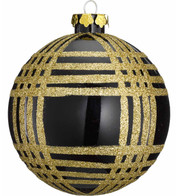 GLITTER CHECK BAUBLES - Black