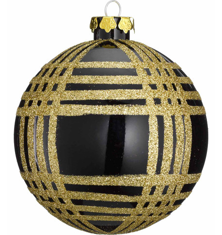 GLITTER CHECK BAUBLES Black