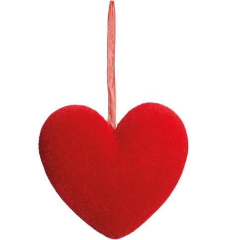 FLOCKED HEART Red