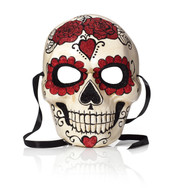 GLITTERED SKULL MASK - Red