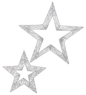 GLITTERED WIRE STARS - SILVER - delivery from 29 Oct - Silver
