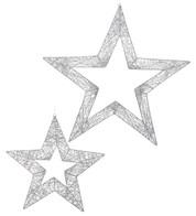 GLITTERED WIRE STARS - SILVER - Silver