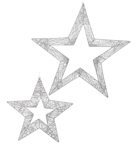 GLITTERED WIRE STARS - SILVER - delivery from 29 Oct Silver