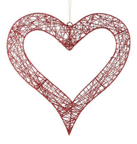 WIRE GLITTERED HEART Red