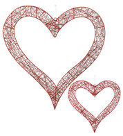 WIRE GLITTERED HEART - Red