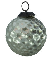 PEWTER GLASS CRATER BAUBLE - Silver