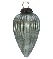 SILVER GLASS PINE CONE BAUBLE - Silver