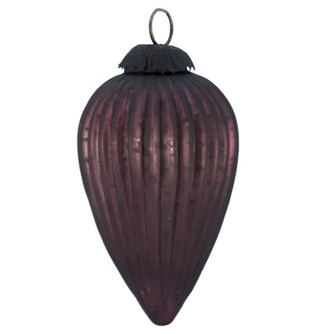 PURPLE GLASS PINE CONE BAUBLE Purple