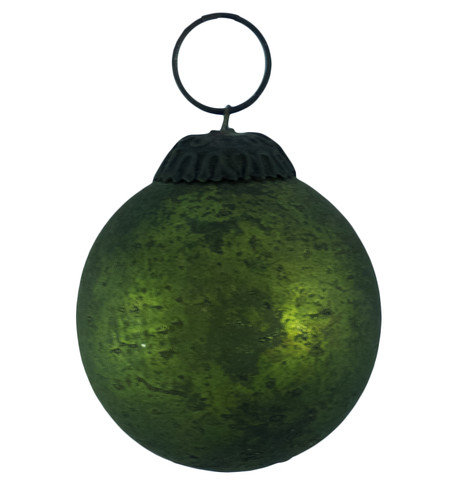 GREEN DISTRESSED GLASS BAUBLES Green