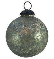 PEWTER DISTRESSED GLASS BAUBLES - Silver