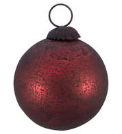 RED DISTRESSED GLASS BAUBLES - Red