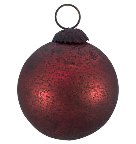 RED DISTRESSED GLASS BAUBLES Red