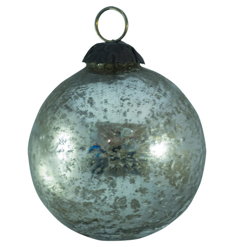 SILVER SPECKLED GLASS BAUBLES Silver