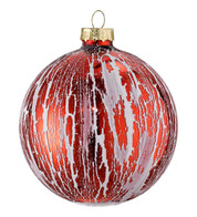 OIL GLAZE RED GLASS BAUBLE - Red