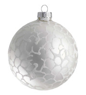 STIPPLED SILVER GLASS Bauble - Silver