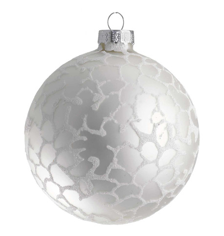 STIPPLED SILVER GLASS Bauble Silver