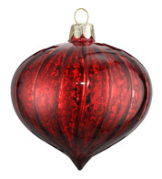RED MERCURY GLASS ONION - Red