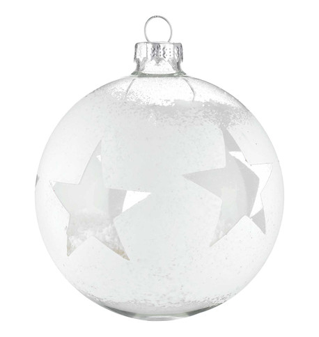DISTRESSED GLASS STAR BAUBLE White