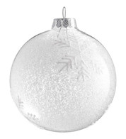 FROSTED GLASS SNOWFLAKE BAUBLE - White