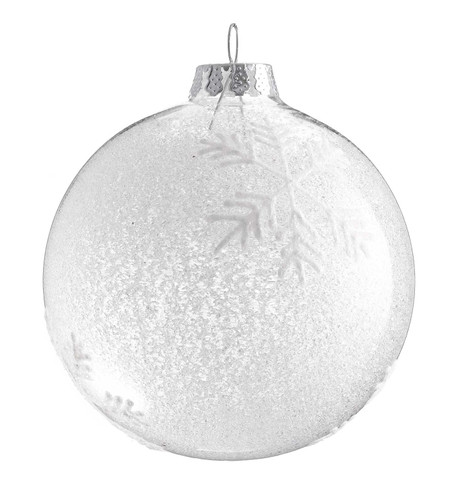 FROSTED GLASS SNOWFLAKE BAUBLE White