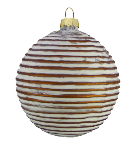 COPPER GLASS RIBBED BAUBLE Copper