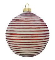 RED RIBBED GLASS BAUBLE - Red