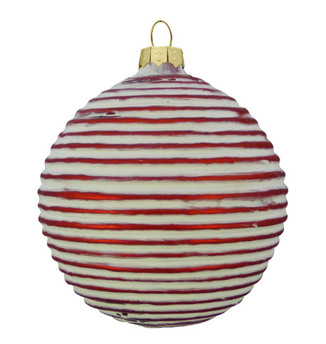 RED RIBBED GLASS BAUBLE Red