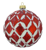 RED GLASS DIAMOND BAUBLE - Red