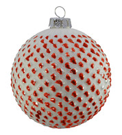 RED TIPPED GLASS BAUBLES - Red