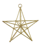 GLITTERED WIRE STARS - GOLD - Gold