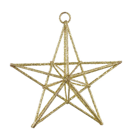 GLITTERED WIRE STARS - GOLD Gold